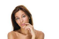 Beautiful woman with finger at her lips Royalty Free Stock Image