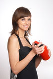 Beautiful woman with the fire extinguisher Royalty Free Stock Images