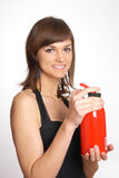 Beautiful woman with the fire extinguisher Stock Photography