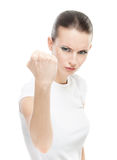 Beautiful woman with a fist shakes Royalty Free Stock Image