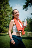 Beautiful woman fitness drinking water Stock Photography