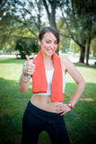 Beautiful woman fitness positive Stock Photography