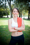 Beautiful woman fitness positive Royalty Free Stock Photo