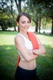 Beautiful woman fitness positive Stock Image