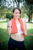 Beautiful woman fitness positive Stock Photography