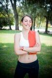 Beautiful woman fitness positive Stock Photo