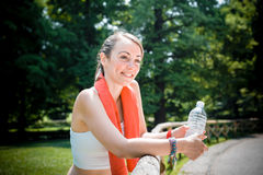 Beautiful woman fitness running Royalty Free Stock Images