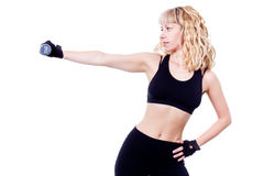 Beautiful woman during fitness time with dumbbell Stock Image
