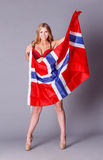 Beautiful woman with Flag of Norway. Stock Photography