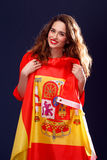 Beautiful woman with Flag of Spain. royalty free stock photography