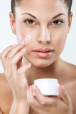 Beautiful woman with flawless skin, facial, hydration.  Royalty Free Stock Photos