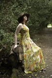 Beautiful woman in a floral print dress Royalty Free Stock Image