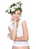 Beautiful woman in floral wreath Stock Photography