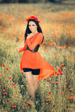 Beautiful Woman with Floral Wreath in a Field of Poppies Stock Photo