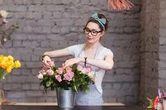 Beautiful woman florist arranging roses in bucket Royalty Free Stock Photo