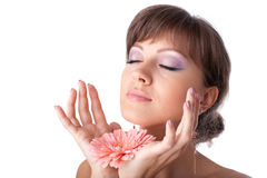 Beautiful woman with a flower Royalty Free Stock Photos