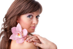 Beautiful woman with a flower Royalty Free Stock Image