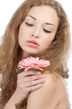 Beautiful woman with flower Royalty Free Stock Image