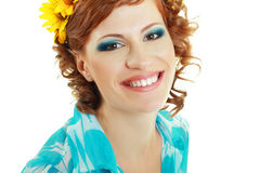 Beautiful woman with flower royalty free stock photo