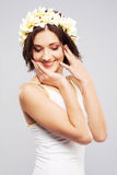 Beautiful woman in flower crown Stock Image
