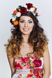 Beautiful woman in flower crown Royalty Free Stock Photography