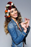 Beautiful woman in flower crown Stock Photos