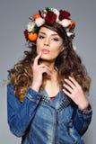 Beautiful woman in flower crown Stock Image