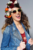 Beautiful woman in flower crown wearing sunglasses Royalty Free Stock Images