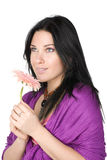 Beautiful woman with flower in hands. Royalty Free Stock Photo