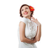 Beautiful woman with flower in her hands Royalty Free Stock Photography