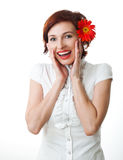 Beautiful woman with flower in her hands Royalty Free Stock Images