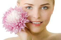 Beautiful woman with flower isolated Stock Photos