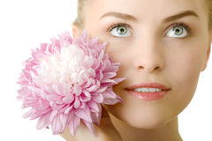Beautiful woman with flower isolated Royalty Free Stock Photography