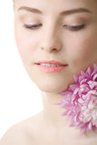 Beautiful woman with flower isolated Stock Photo