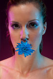 Beautiful woman with flower in mouth Stock Image