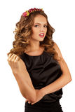 Beautiful woman with flower rim and curly hair Royalty Free Stock Images