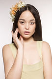 Beautiful woman  with flower's headband Royalty Free Stock Image