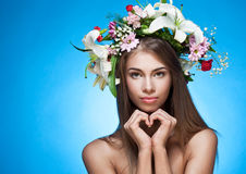 Beautiful woman with flower wreath Royalty Free Stock Photography
