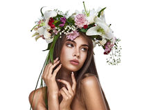 Beautiful woman with flower wreath. Stock Images