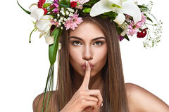 Beautiful woman with flower wreath Royalty Free Stock Image