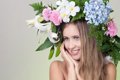 Beautiful woman with flower wreath Stock Photo