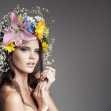 Beautiful Woman With Flower Wreath On Her Head. Royalty Free Stock Photos