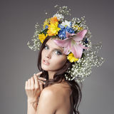 Beautiful Woman With Flower Wreath On Her Head. Stock Photos