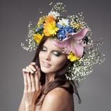 Beautiful Woman With Flower Wreath On Her Head. Royalty Free Stock Images