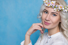 Beautiful Woman in Flower Wreath Isolated in Studio. Stock Photos