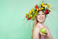 Beautiful woman with flower wreath Royalty Free Stock Photos