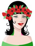 Beautiful Woman with flower wreathe. An illustration of a beautiful smiling woman with red flower wreathe in her hair Royalty Free Stock Photo