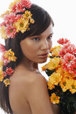 Beautiful woman and flowers Royalty Free Stock Photos