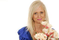 Beautiful woman with flowers Royalty Free Stock Photography