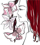 Beautiful woman with flowers. Vector illustration Stock Photography